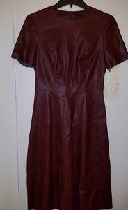 Zara maroon faux leather A-line dress